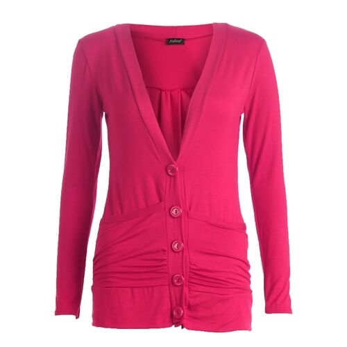 Womens Ladies Button Up Boyfriend Cardigan Top Long Sleeve Cardigan Jumper 8-26