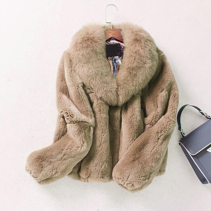 Para Mujer Abrigo Chaqueta Corta Cuello de Piel Invierno Cálido  Imitación Piel Parka Gruesa Talla Sbox1  garantizado