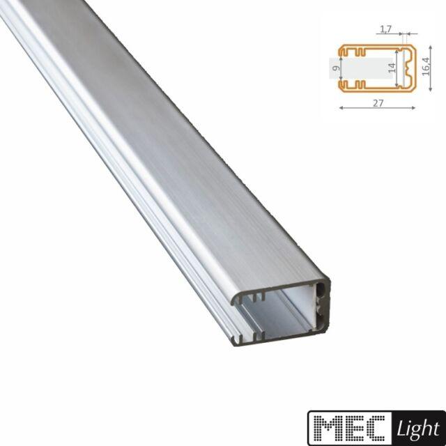 1m Alu-Profil MIKRO-LINE Leiste für Glasflächen eckig abgerundet