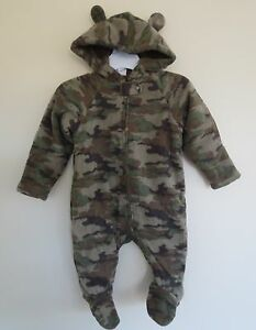dae9436fb Details about NEW Boy Infant **3-6* or*6-9** months HEALTHTEX Fleece  BearHoodie One-Piece CAMO