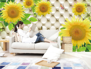 3D Sunflower Butterfly 3162 Paper Wall Print Wall Decal Wall Deco Indoor Murals