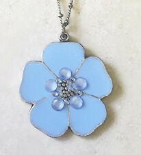 NEW ANNE KOPLIK ENAMEL & SWAROVSKI CRYSTAL BLUE FLOWER PENDANT NECKLACE