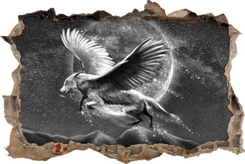 3D-Look Durchbruch Wandtattoo Aufkleber-Sticker Wo3D/_WD/_ mit Flügeln Kunst B/&W