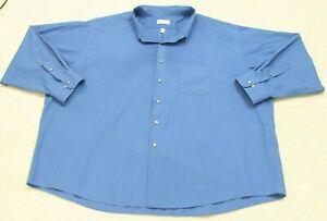 21-5-22-Van-Heusen-Blue-Dress-Shirt-Cotton-Polyester-Long-Sleeve-Man-039-s-Men-039-s-6XL