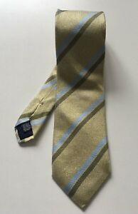 HERRINGBONE-Yellow-Green-Striped-Tie-9-5cm-Width-100-Silk-Made-in-Italy