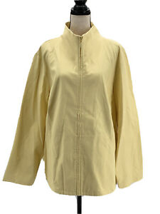 Eileen Fisher Womens Lightweight Jacket Yellow Plus Size 3X Quilted Cotton Zip