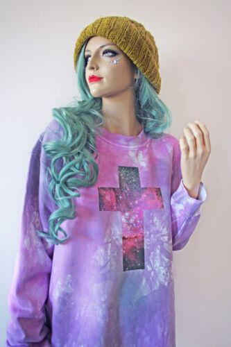 CRUCIFIX Cross Pastel Goth Space Kawaii Hipster Oversized Grunge Tie Dye Jumper