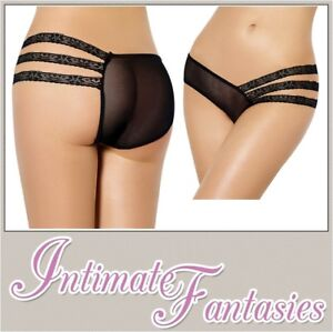 a84ab3eaf508 Sexy Black Strappy Knickers Mesh See Through Large Size 10 12 14 16 ...