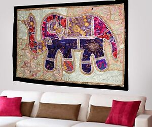 HANDMADE-ELEPHANT-BOHEMIAN-PATCHWORK-WALL-HANGING-EMBROIDERED-TAPESTRY-INDIA-X55