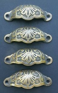 """4 Apothecary Drawer Cup Bin Pulls Handles Antique Victorian Style 3 9/16""""w.  #A2"""