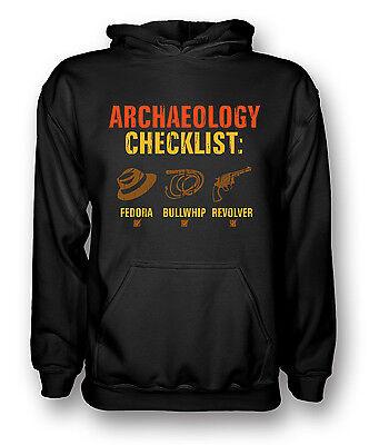 ARCHEOLOGIA lista di controllo-FEDORA FRUSTA Revolver-Divertente-Uomo Felpa con Cappuccio