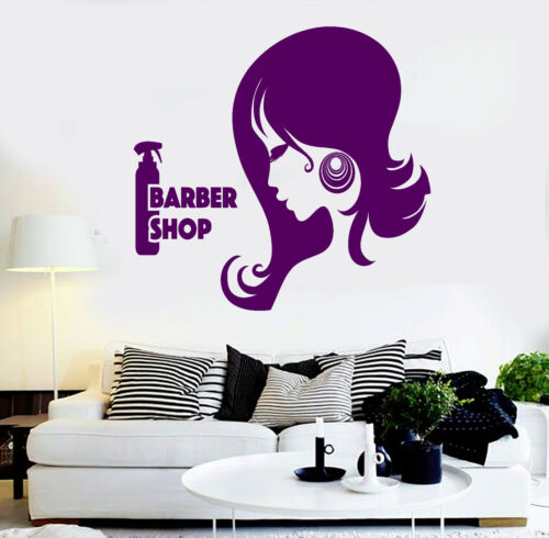 ig3762 Vinyl Wall Decal Barber Shop Woman Hair Stylist Beauty Salon Mural