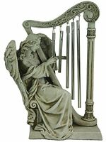 10-in Beautiful Faux Stone Seated Angel Statue Playing Harp Wind Chime- Cemetery