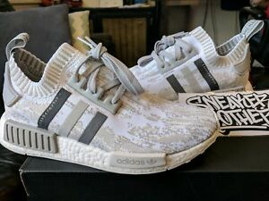 Adidas NMD R1 PK W Primeknit Grey Glitch White Beige Tan Japan BY9865 Womens 8