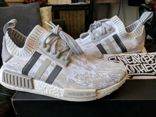 7f1a673385157 Adidas NMD R1 PK W Women Primeknit Grey Glitch Camo White Beige Tan BY9865  Boost