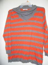 August Silk Gray Orange Turtle Neck  Long Sleeve Striped Sweater Soft Sz XL EUC!