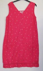 Next-Linen-Blend-Shift-Dress-Pink-Heart-Print-Summer-Print-Size-8-18