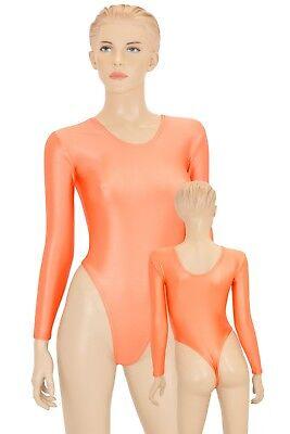 Damen Wetlook Stringbody lange Ärmel stretch shiny starker Glanz Elasthan S - XL
