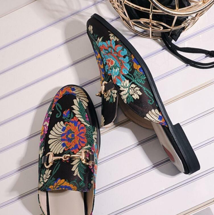 Fashion Backless  Embroidery Flower Horsebit Backless Fashion Loafer Slipper Mule Slide Shoes New 834f58