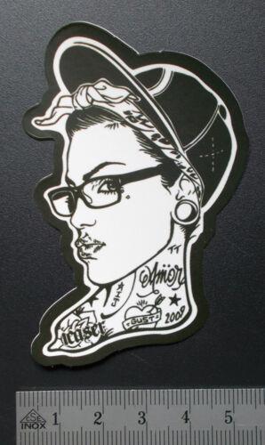 "Tattoo Girl/"" Stickerbomb Sticker Aufkleber Matt-Optik /""Skater Girl Notebook"
