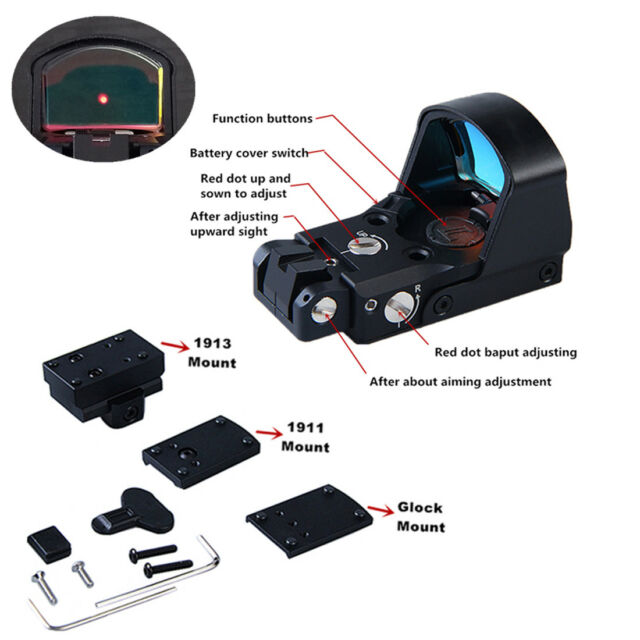 DP-Pro Tactical Holographic Red Dot Reflex Sight Scope w// 1911 1913 Glock Mount