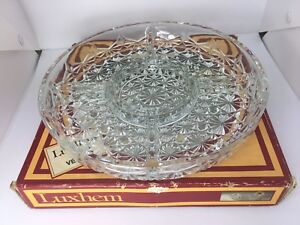 Vtg-Retro-Canape-Platter-Serving-Dish-Cut-Glass-3-Sections-Luxhem-De-Veropa-Bowl