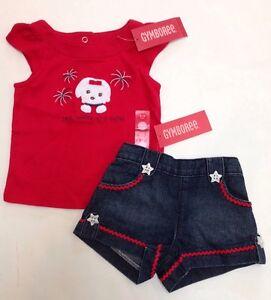 NWT Gymboree RED WHITE /& CUTE Girls Sz 0-3 Months Dress Headband 4th of July SET