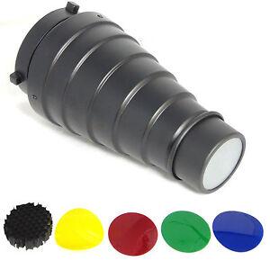 DynaSun A187 Réflecteur Snoot Nez Étroit Conique avec Grille Filtres x Bowens S