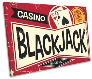 Casino Blackjack Retro SINGLE CANVAS WALL ART Print Picture Red
