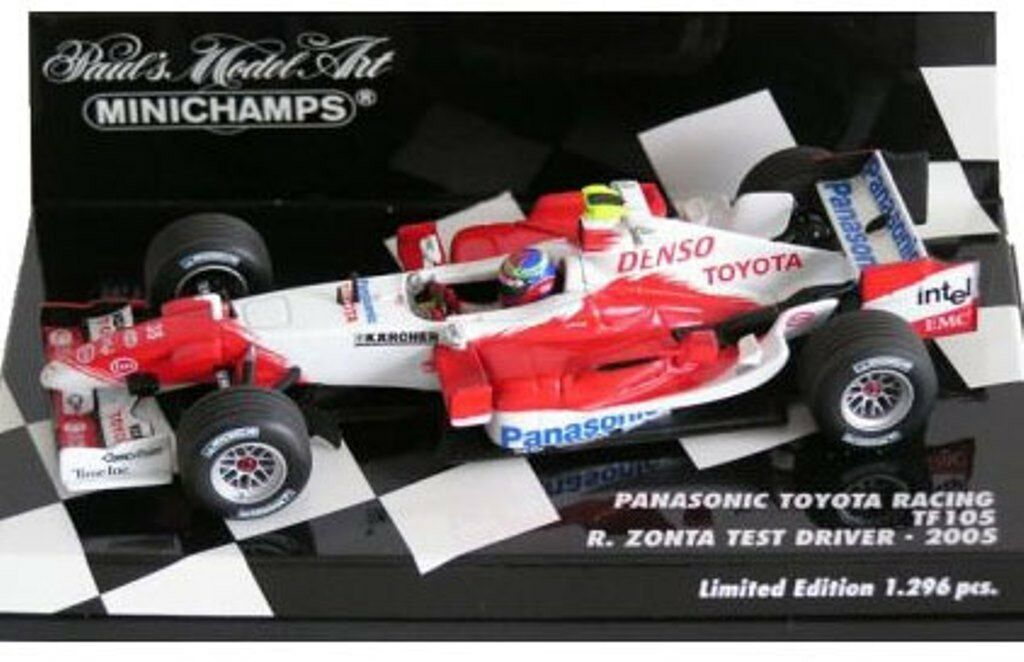 MINICHAMPS 400 050038 Panasonic Toyota TF105 F1 die cast car R Zonta Test 1 43rd