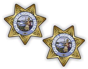 2 x California Highway Patrol Star Aufkleber US Polize Stern Polizei R57//3