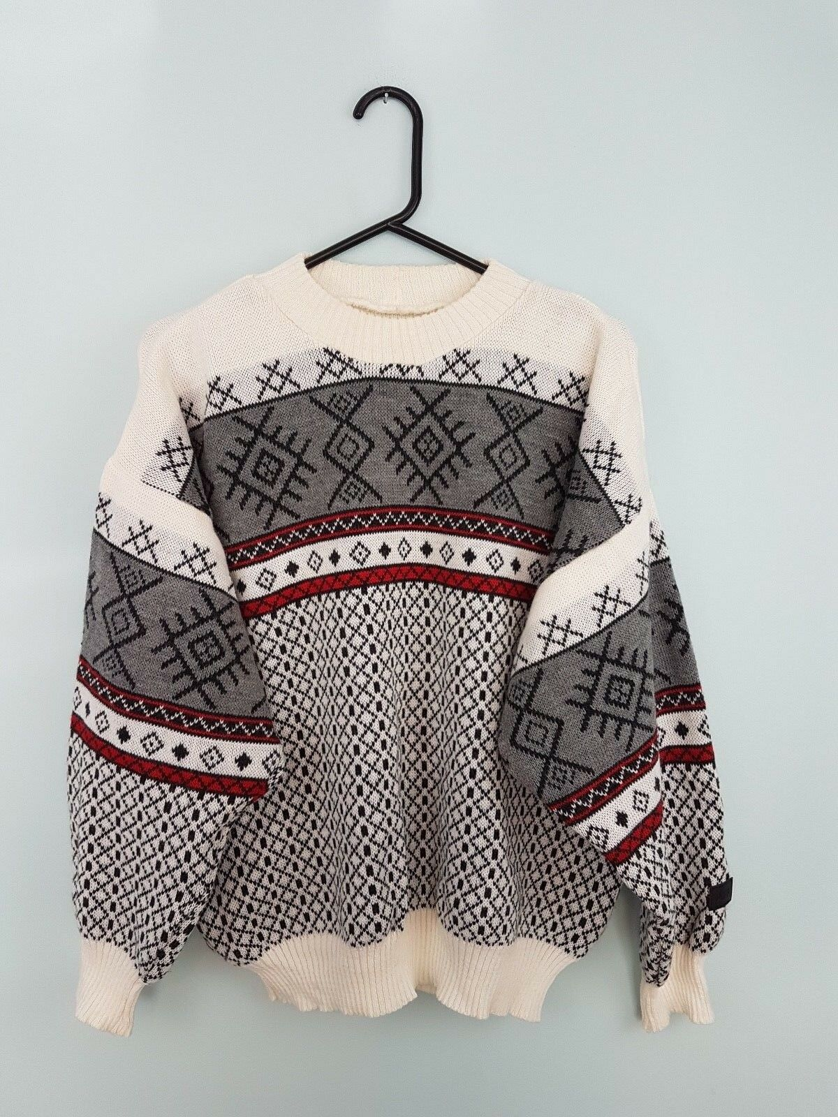 VTG RETRO AZTEC CHUNKY KNIT WINTER ICELANDIC SNOWFLAKE SWEATSHIRT JUMPER UK L
