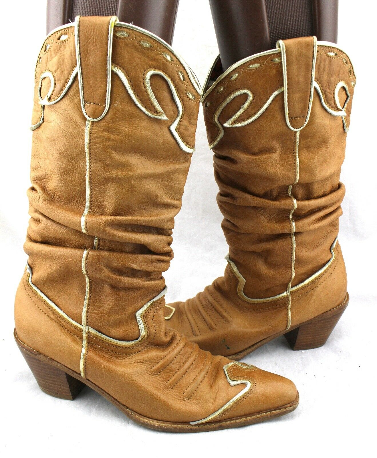 Na Na NANA Camel Tan Leather gold Trim Cowgirl Western Scrunch Slouch Boots 9.5