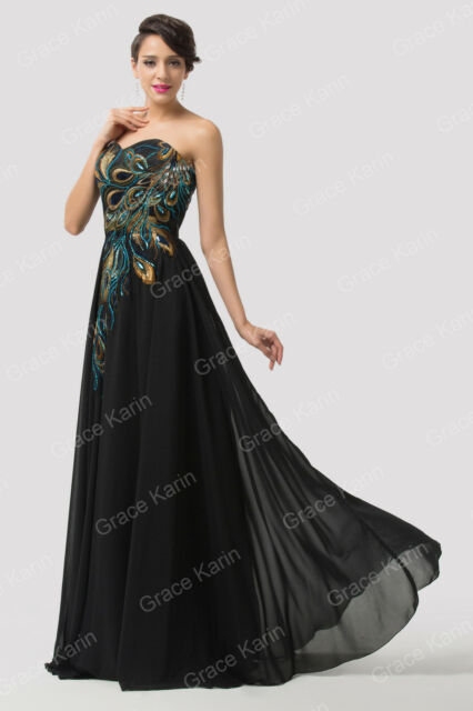2015 Long Peacock Formal Prom Dresses Bridal Evening Party Cocktail Gown UK 6-20