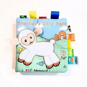 JJOVCE Soft Cloth Book For Baby 0-12 Months Crinkle W/ Tabs Educational - Farm