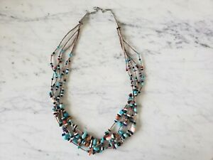 """Mary Aguilar Multi 5 Strand Turquoise Necklace Coral Lapis Onyx Sterling 29.5"""""""