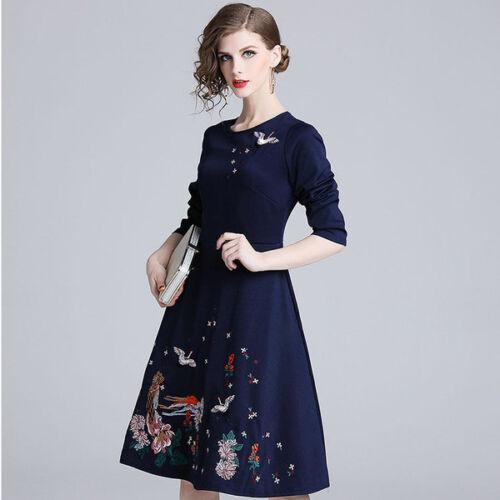 zachte jurk uitlopende Elegante bloemen knie Jurk zwarte 4852 lange AZvwYPqHw