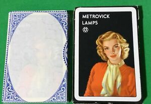 TAX WRAPPED Old Vintage METROVICK LAMPS Car Advertising Art Playing Cards GIRL 3