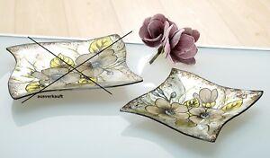 Schale Teller Tischdeko Gilde Handwerk Glas Bluten Muster Grun 22 5