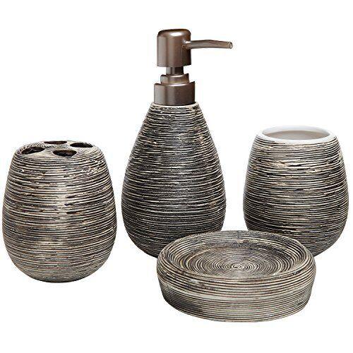 Dark Brown Ceramic Soap Dish Dispenser Toothbrush Holder Tumbler Bathroom Set