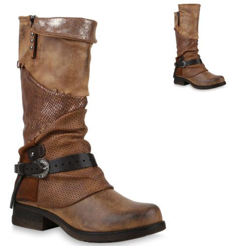 892383 Damen Bikerstiefel Schuhe Stiefel Biker Boots Zipper Top