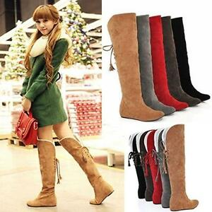 Winter-Women-039-s-Warm-Over-the-Knee-Thigh-High-Lace-Up-Long-Boots-Flat-Heel-Shoes