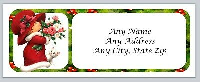 ac 472 Personalized address labels Christmas Cute little Girl Buy 3 get 1 free