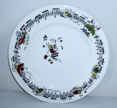 Teller 27 cm Musik Notenlinien Käfer lustig
