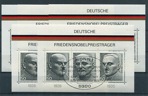 5-x-Bund-Block-11-gestempelt-ESST-Bonn-BRD-871-873-Nobelpreistraeger-used