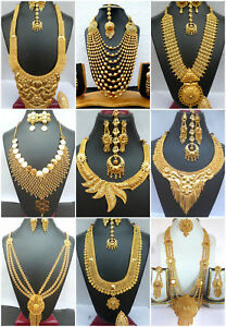 Necklace-22K-Gold-Plated-Indian-Designer-Variation-Necklace-Earrings-party-Set-e