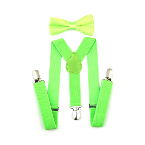 New Elastic Kids Suspenders and Bow Tie Combo Set Adjustable Boys Girls Toddlers