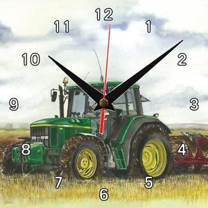 N-22-John-Deere-labour-Sue-podbery-horloge-murale-grand-cadeau-fait-main