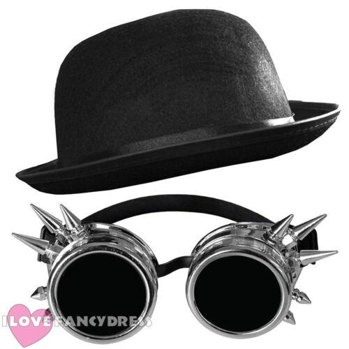 Steampunk Occhiali Argento Nero Bombetta Vittoriano SCI-FI Costume