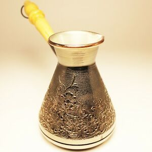 Turkish-Coffee-Pot-034-Spring-034-Made-Out-of-Thick-Copper-with-Welded-Metal-Tube